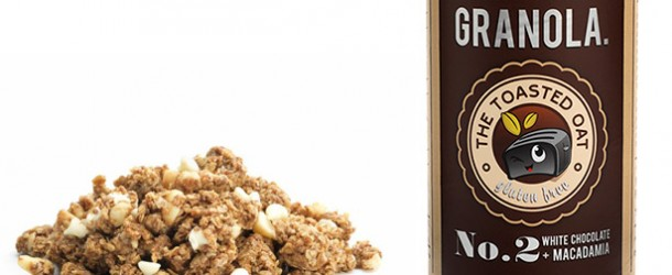 can of white chocolate macadamia granola