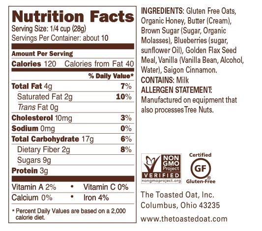 Blueberry Cobbler Nutrition Panel
