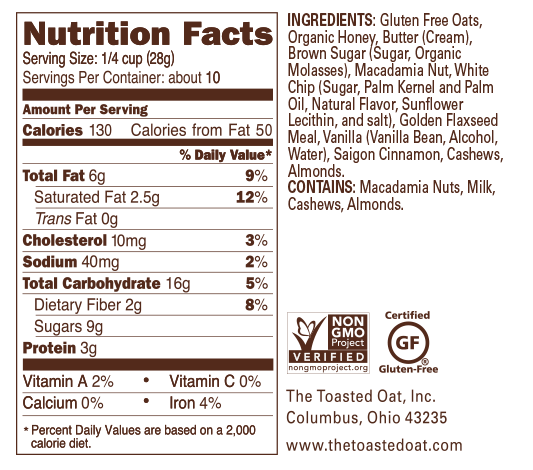 Macadamia Chunk Nutrition Panel