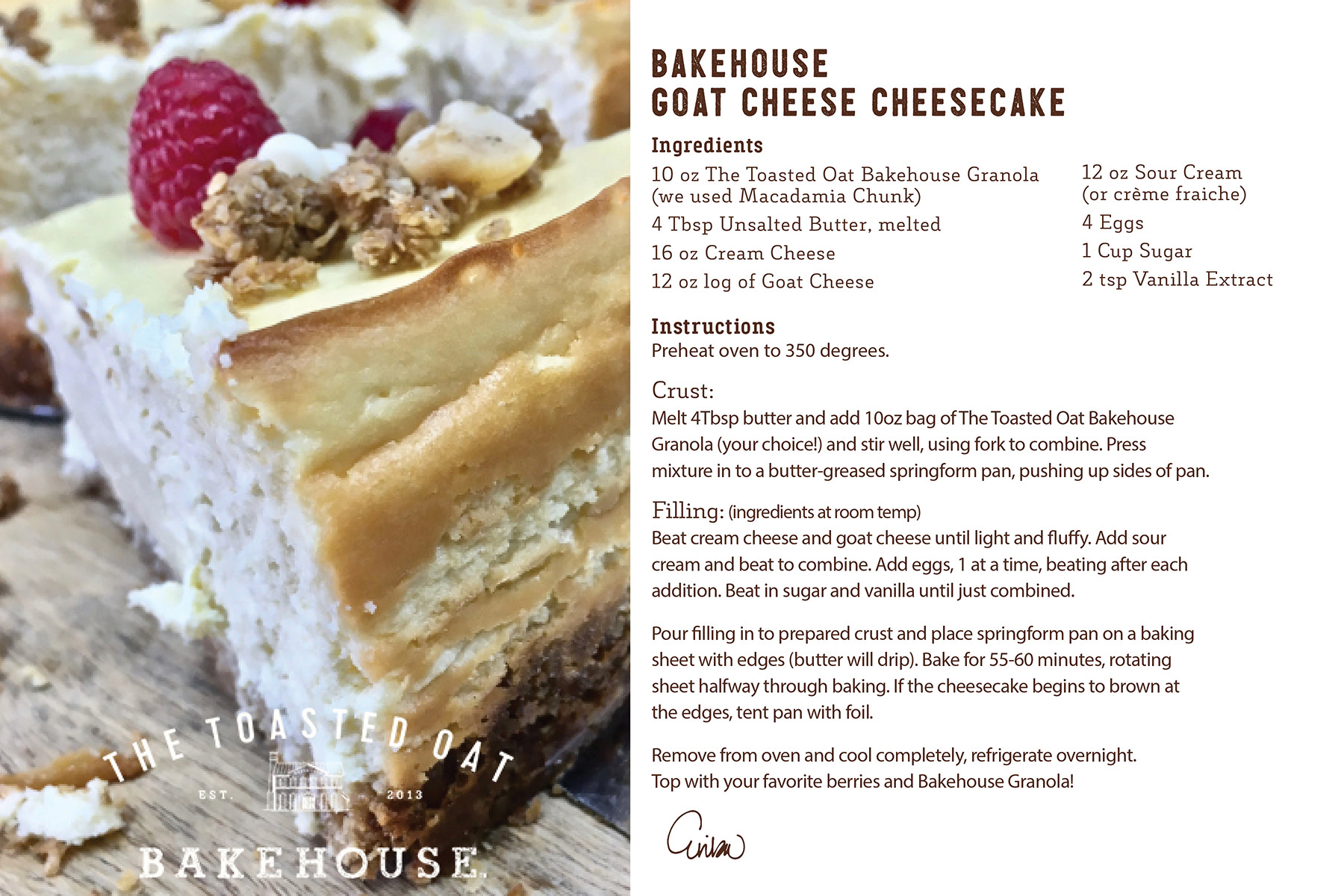 Bakehouse Goat Cheese Cheesecake