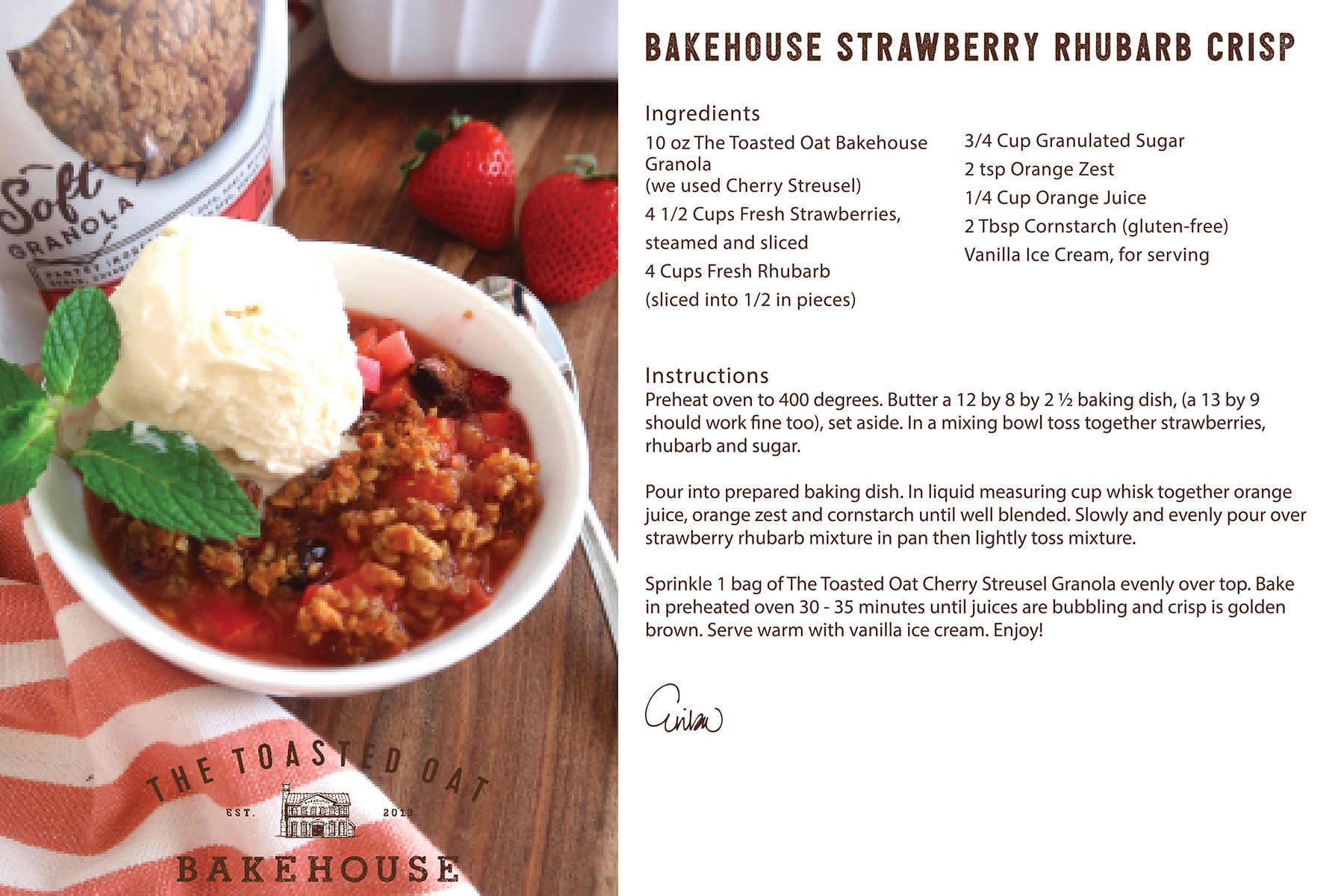 Bakehouse Strawberry Rhubarb Crisp