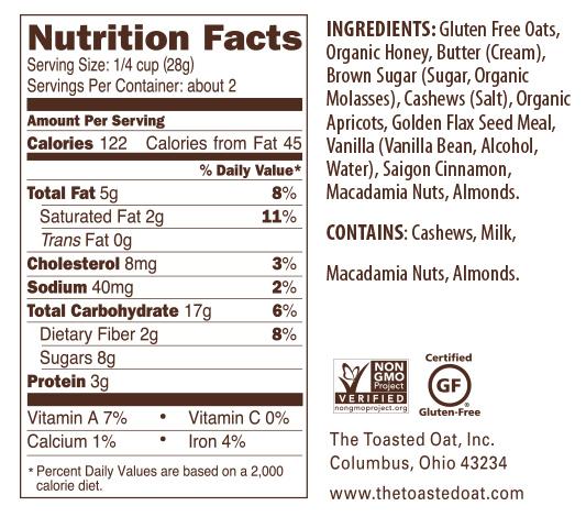Apricot Nutrition Panel