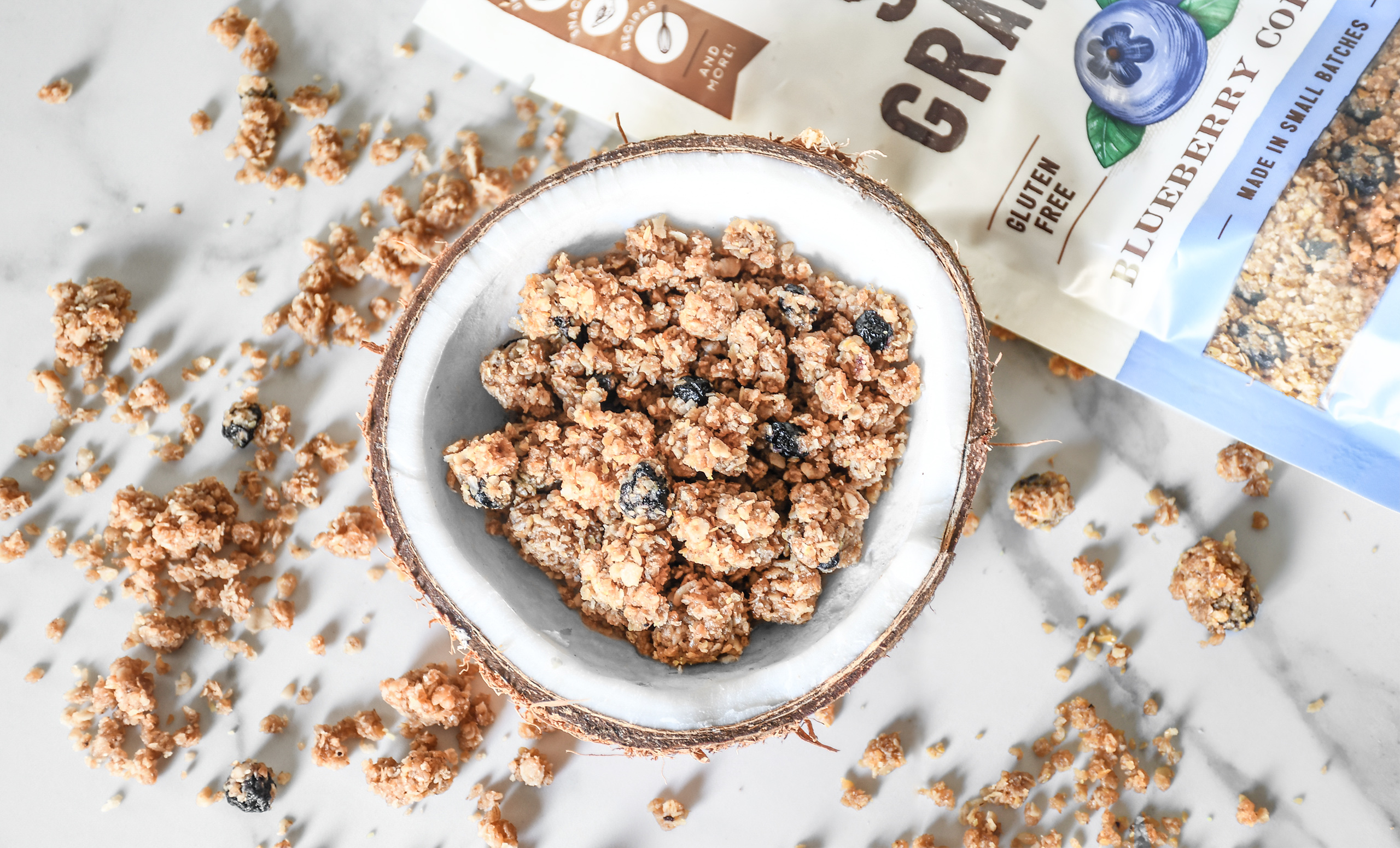 granola in coconut shell
